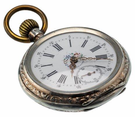купить Часы карманные c гильошированием и картушем, серебро 800 пр, Швейцария, 1900-1930 гг.