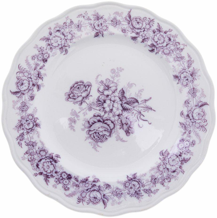 """купить Набор из 6 обеденных тарелок с графично изображенными цветами, фаянс, деколь, мануфактура """"Brown-Westhead, Moore & Сo"""", Англия, 1862-1904 гг."""