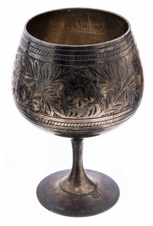 купить Бокал с цветочно-растительным орнаментом, металл, серебрение, гравировка, Индия, 1950-1970 гг.
