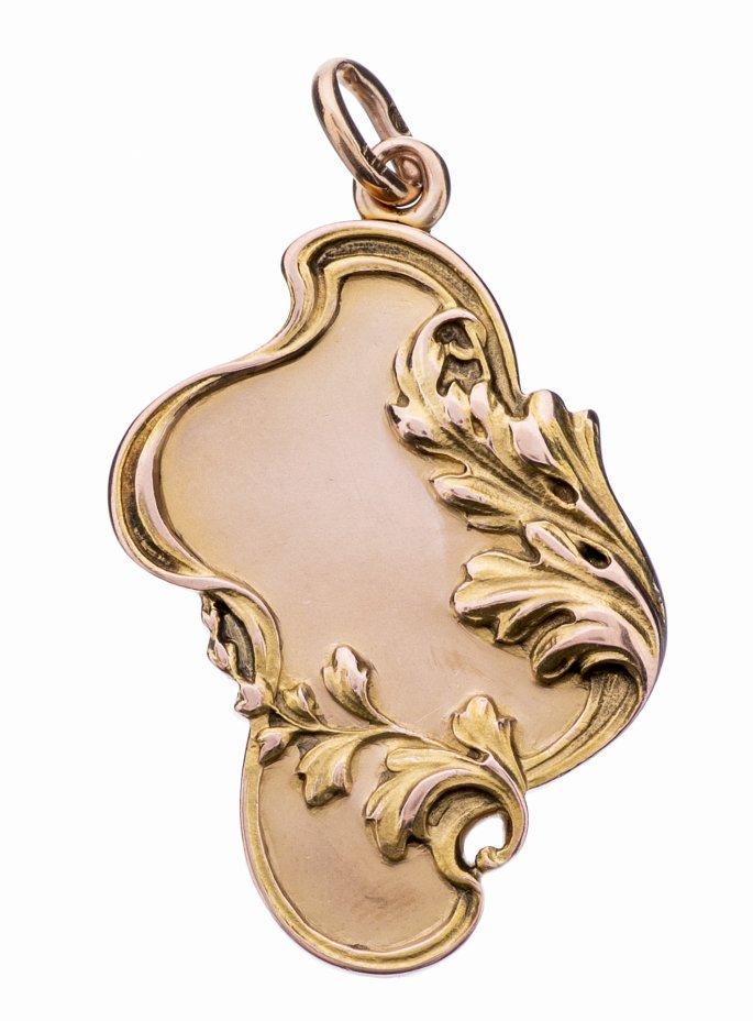 купить Кулон (локет), декорированный растительными побегами, золото 56 пр., стекло, Российская Империя, 1899-1908 гг.