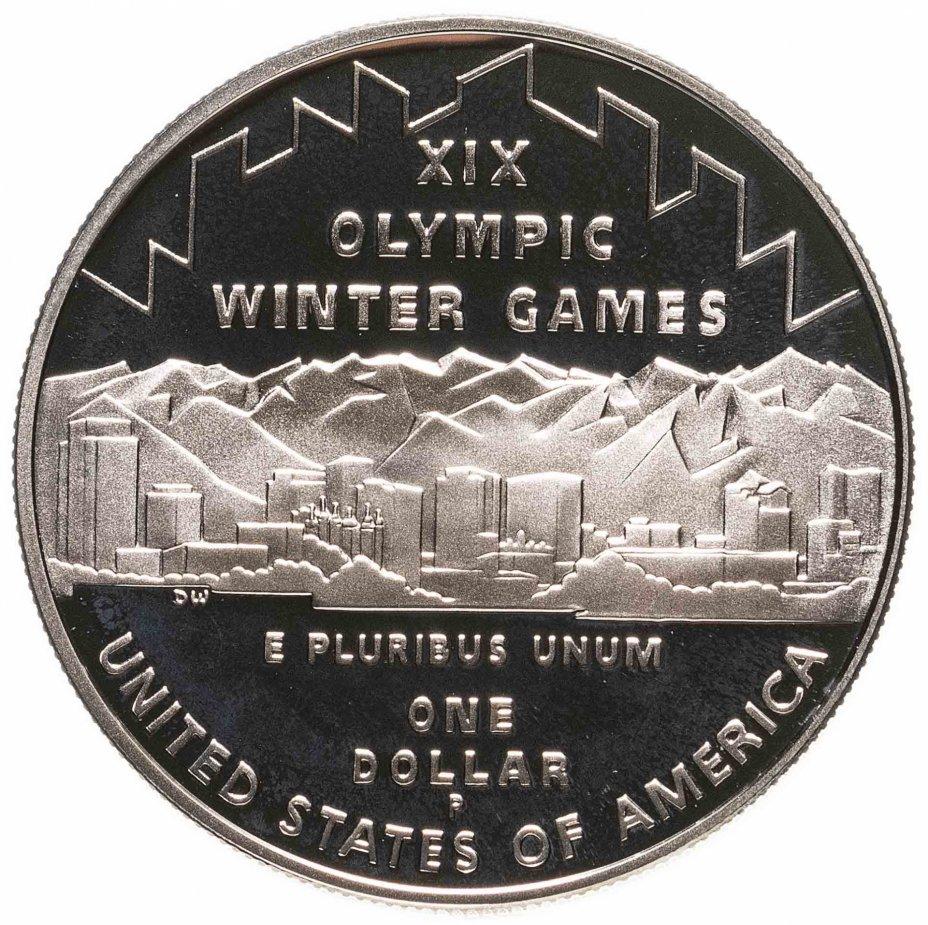 """купить США 1 доллар (dollar) 2002   """"XIX зимние Олимпийские Игры, Солт-Лейк-Сити 2002"""" (в коробке с сертификатом)"""
