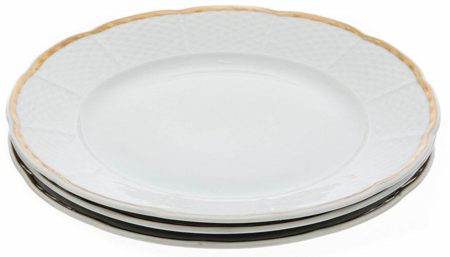 """купить Набор тарелок для закусок декорированных золочёной каймой на 3 персоны, фарфор, деколь, мануфактура """"Thun"""", Чехия, 1970-1990 гг."""