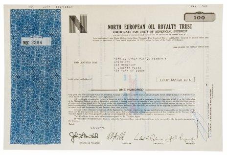 купить Акция США NORTH EUROPEAN OIL ROYALTY TRUST, 1976 г.