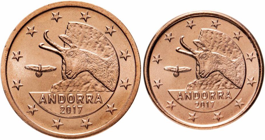 купить Андорра набор 1 и 2 евроцентов 2017 (2 штуки, UNC)