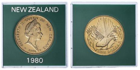 """купить Новая Зеландия 1 доллар 1980 """"Птицы Новой Зеландии - Веерохвостка"""", в футляре"""