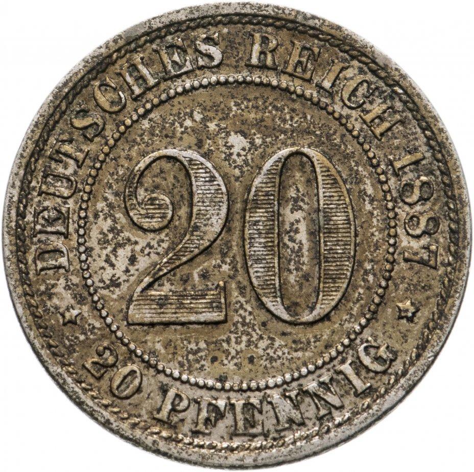"""купить Германия 20 пфеннигов (pfennig) 1887 """"E"""" - Мульденхюттен"""