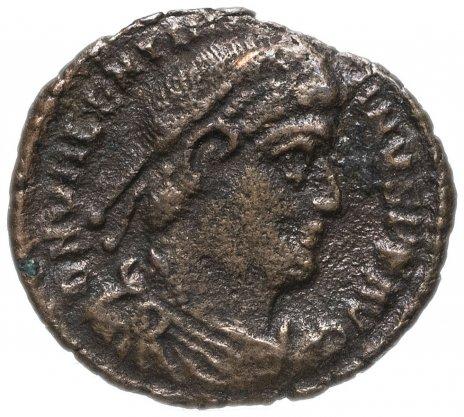 купить Римская Империя Валентиниан I 364-375 гг фракция фоллиса (реверс: император идет вправо, волочит пленника)