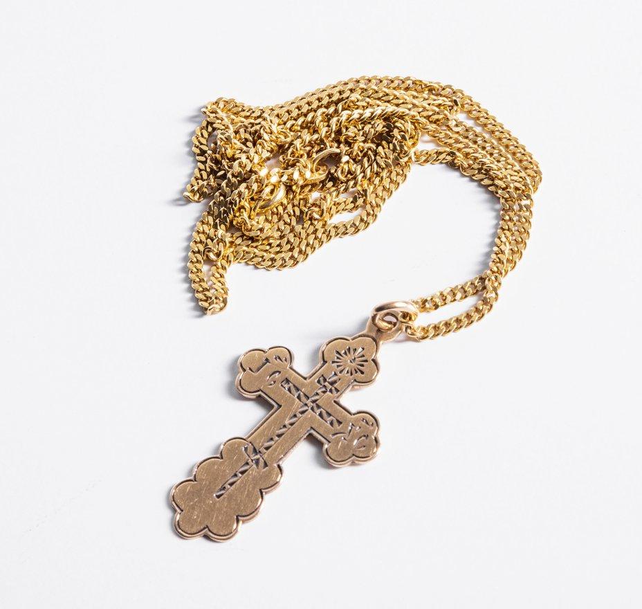 купить Крест нательный с гравировкой с цепочкой, золото  750, 56 пр., Российская Империя, Западная Европа, 1900-1930 гг.
