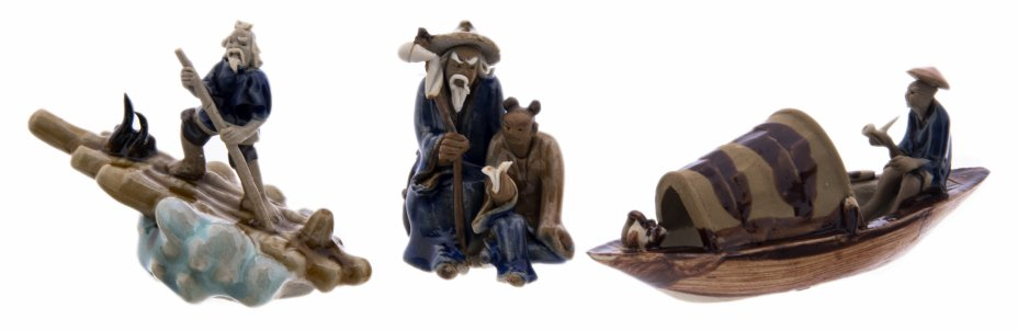 """купить Набор миниатюрных статуэток """"Учитель и ученик"""", """"На лодке"""" и """"Сплав на плоту"""", керамика, глазурь, ручная лепка, Китай, 1970-2000 гг."""