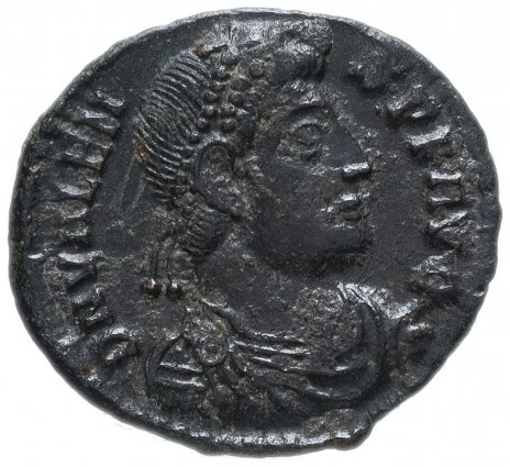 купить Римская Империя Валент II 364–378 гг фоллис ? (реверс: император идет вправо, волочит за волосы пленника)