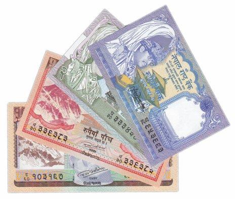 купить Непал набор из 4 банкнот 1(1991),2(1981), 5(2017), 10(2017) рупий