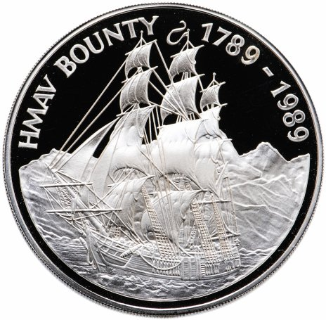 """купить Острова Питкэрн 50 долларов 1989 """"HMAV Bounty"""" в футляре, с сертификатом"""