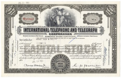 Купить Акция США  International Telephone And Telegraph Corporation 1951- 1957 гг.