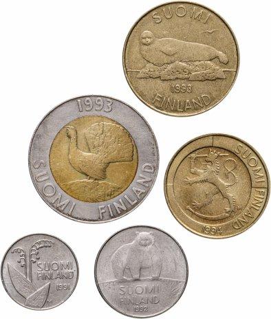 купить Финляндия, набор из 5 монет 1991-1994 годов