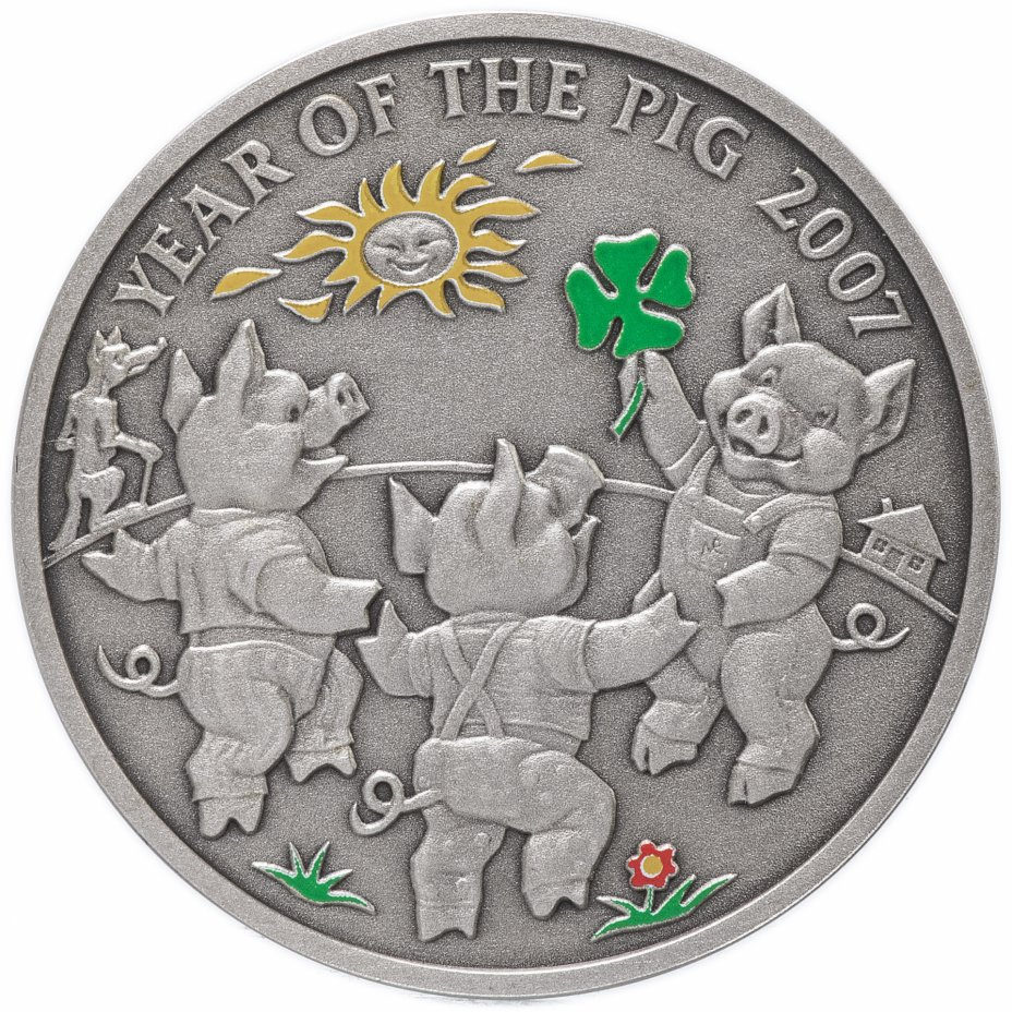 """купить Ниуэ 1 доллар (dollar) 2006 """"Китайский гороскоп - год свиньи 2007"""" с сертификатом"""