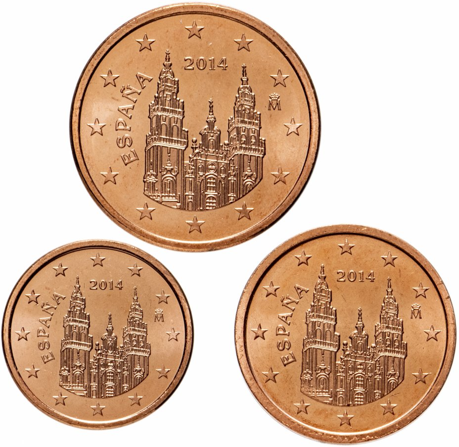 купить Испания набор монет от 1 до 5 евро центов 2014 (3 штуки)