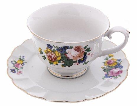 купить Пара чайная с цветочным декором, фарфор, деколь, золочение, Китай, 1990-2010 гг.