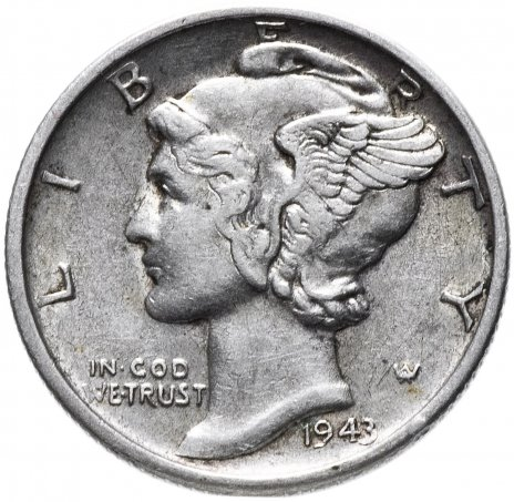 купить США 10 центов (дайм, one dime) 1943 D Mercury Dime (дайм «Меркурий»)
