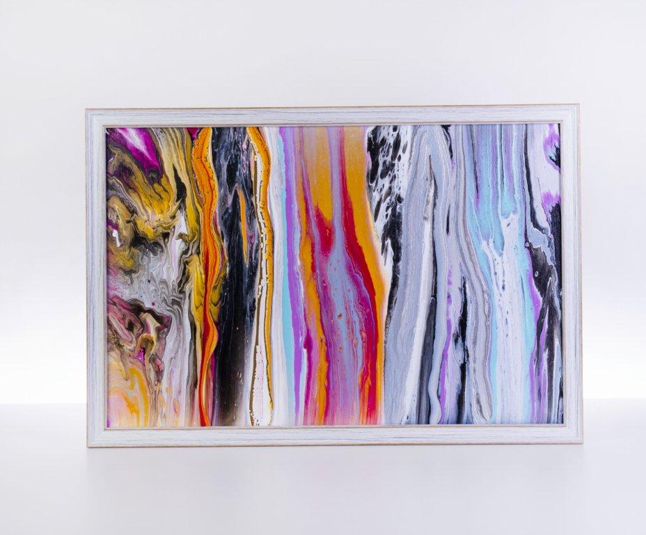 купить Картина «Вода и камень», авторская работа в технике Fluid Art, холст, акрил, художник Анна Лукьянова, Россия, 2021 г.