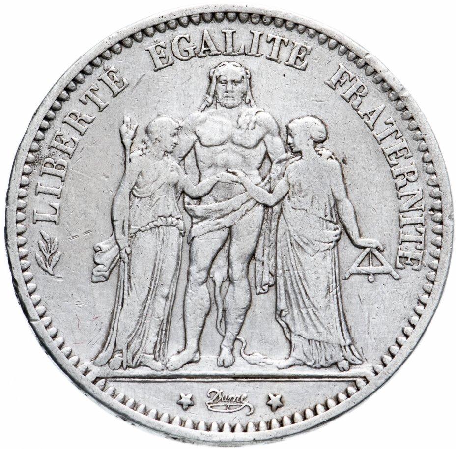 """купить Франция 5 франков (francs) 1874 Геркулес, знак монетного двора: """"К"""" - Бордо"""