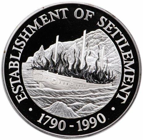 """купить Острова Питкэрн 50 долларов 1990 """"Первое поселение в Австралии"""" в футляре, с сертификатом"""