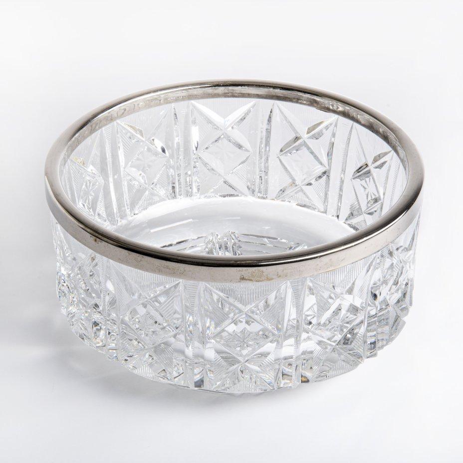 купить Ваза (фруктовница) с металлическим ободком, стекло, алмазная грань, СССР, 1960-1990 гг.