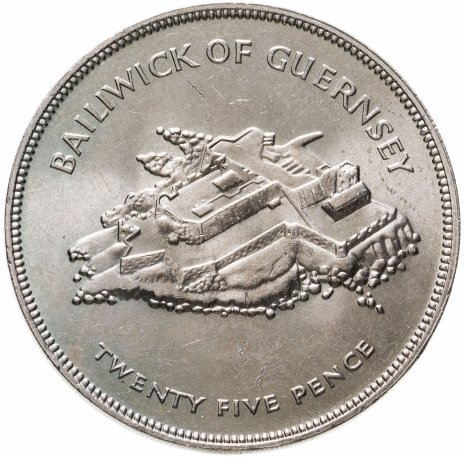 """купить Остров Гернси 25 пенсов (pence) 1977 """"25 лет правления Королевы Елизаветы II"""""""