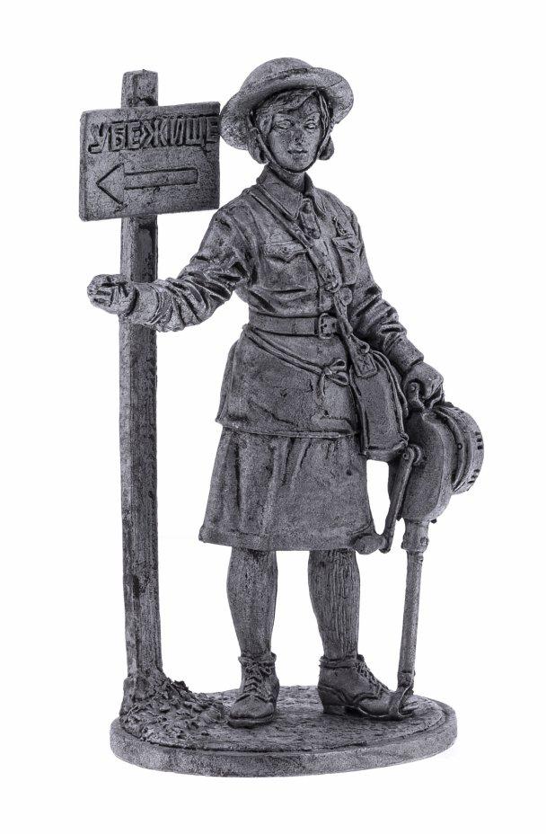 купить Оловянный солдатик, Девушка инструктор МПВО с ручной сиреной, Россия, 2021