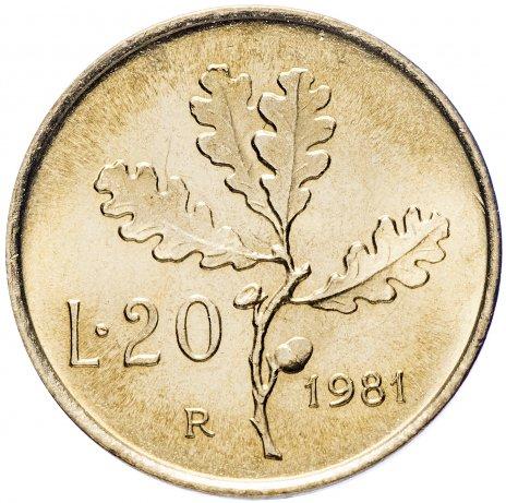 """купить Италия 20 лир 1981 """"Ветка дуба"""""""