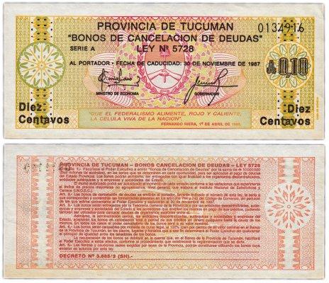 купить Аргентина 10 центавос 1987 (Provincia de Tucuman)