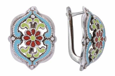 купить Серьги с цветочным эмалевым декором, серебро 875 пр., СССР, 1965-1994 гг.