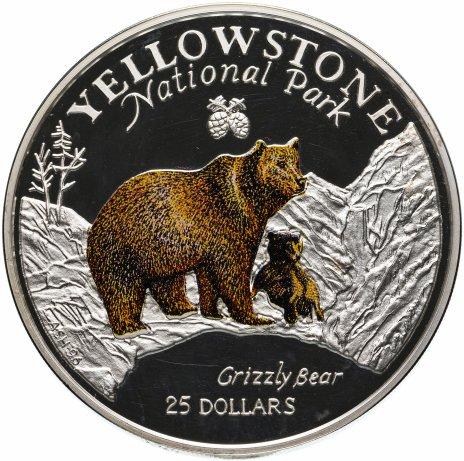 """купить Острова Кука 25 долларов 1996 """"Йеллоустонский национальный парк"""" с сертификатом"""