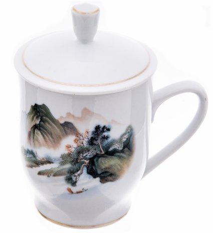 купить Чашка чайная с крышкой, фарфор, деколь, золочение, Китай, 1960-1990 гг.