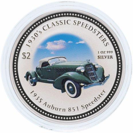 """купить Острова Кука 2 доллара (dollars) 2006 Классические спидстеры 1930-х годов - """"1935 Auburn 851"""" с сертификатом"""