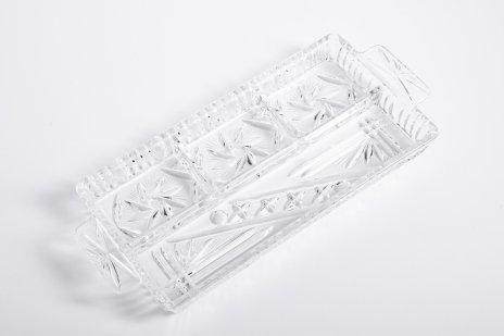 купить Менажница на четыре части выполненная в технике алмазная грань, стекло, СССР, 1970-1990 гг.