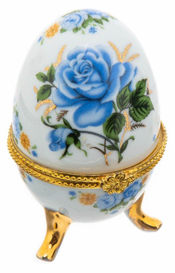 купить Шкатулка  в виде пасхального яйца с цветочным декором, фарфор, деколь, Россия, 2000-2015 гг.