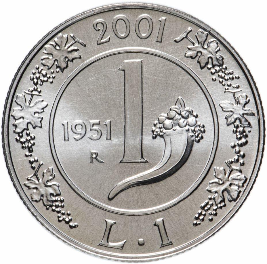 """купить Италия 1 лира (lira) 2001 """"История лиры - лира 1951"""""""