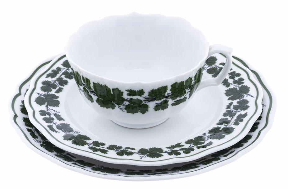 """купить Трио чайное с узором """"Виноградные листья"""", фарфор, подглазурная роспись, Meissen porcelain manufactory, Германия, 1970-2000 гг."""