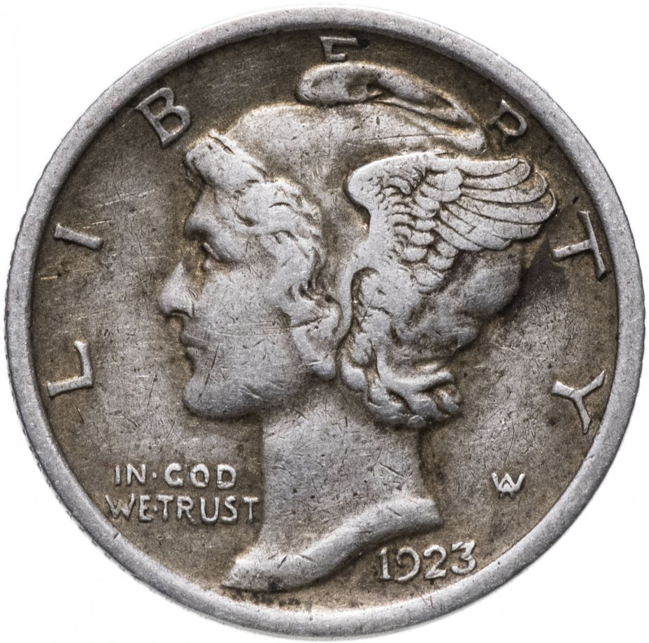 купить США 10 центов (дайм, one dime) 1923 Mercury Dime Без отметки монетного двора