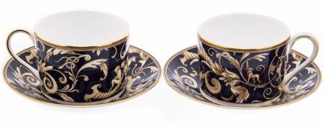 """купить Набор из двух чайных пар """"Cornucopia"""" с растительным декором, фарфор, деколь, золочение, мануфактура """"Wedgwood"""", Англия, 2000-2020 гг."""