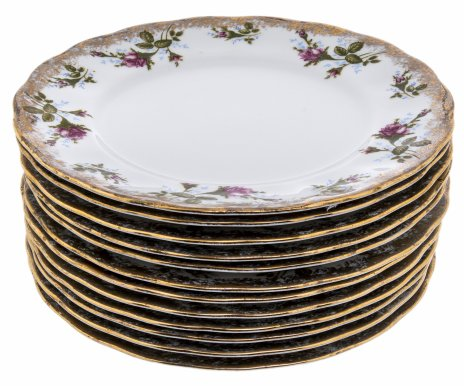 купить Набор из 12 обеденных тарелок с цветочным декором, фарфор, деколь, золочение, Польша, 1970-1990 гг.