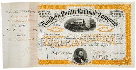 купить Акция США  Northern Pacific Railroad Company ( С ордером на покупку), 1881 г.