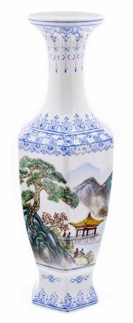 купить Ваза с пейзажной росписью в оригинальной коробке, фарфор (яичная скорлупа), роспись, Китай, 1950-1980 гг.