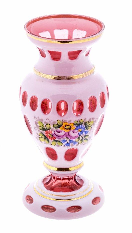 купить Ваза из двухслойного богемского стекла декорированная  изображением цветов, роспись, золочение, Чехословакия, 1950-1970 гг.
