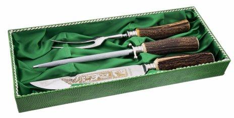 купить Набор сервировочный для дичи (нож, мусат и двузубая вилка), сталь, гравировка, натуральный рог, Solingen, Германия, 1970-1990 гг.