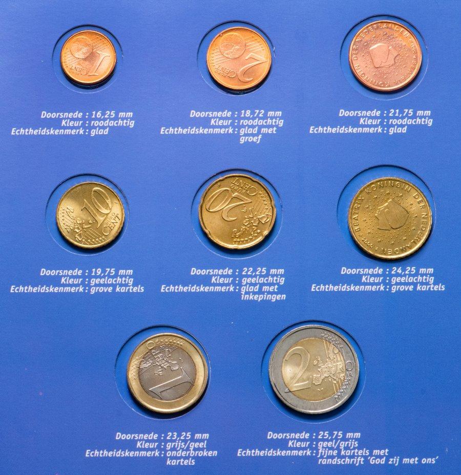 """купить Нидерланды 2000-2001  годовой набор евро из 8 монет """"Первое знакомство c евро"""" в блистере"""