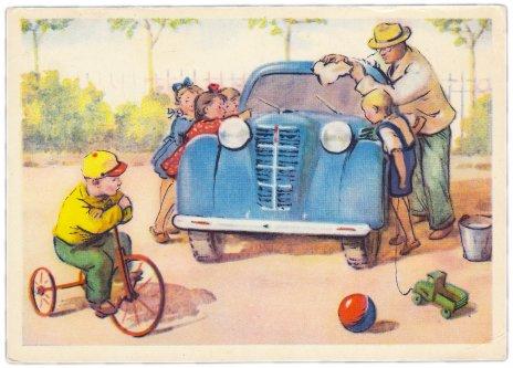 """купить Открытка (открытое письмо) """"Новая машина"""" худ. И. Брюлин 1956"""