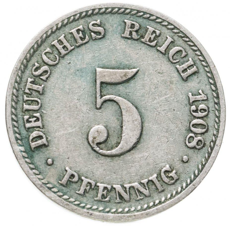 """купить Германская Империя, Бавария 5 пфеннигов 1908 """"D"""""""
