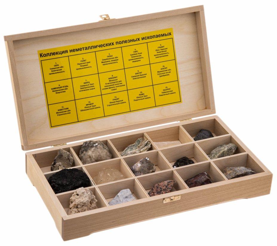 купить Коллекция неметаллических полезных ископаемых (15 образцов, состав №1) в деревянной коробке