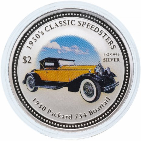 """купить Острова Кука 2 доллара (dollars) 2006 Классические спидстеры 1930-х годов - """"1930 Packard 734 Boattail"""" с сертификатом"""